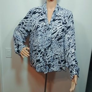Vince Camuto Wrap Front Long Sleeve Blouse Top Med